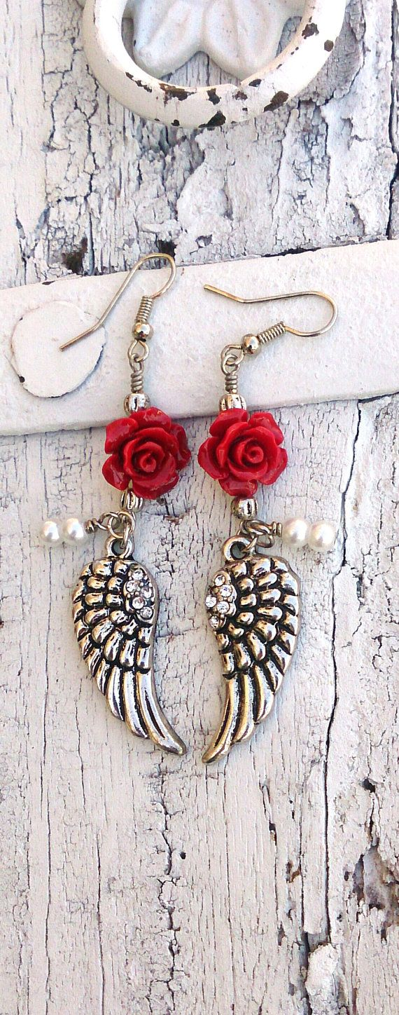 Red Rose Wing Earrings Crystal ANGEL WING earrings by SecretStashBoutique