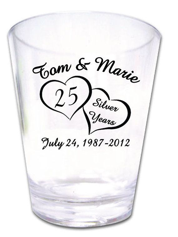 120 Personalized 25th Wedding Anniversary Favor Shot by Factory21, $96.00