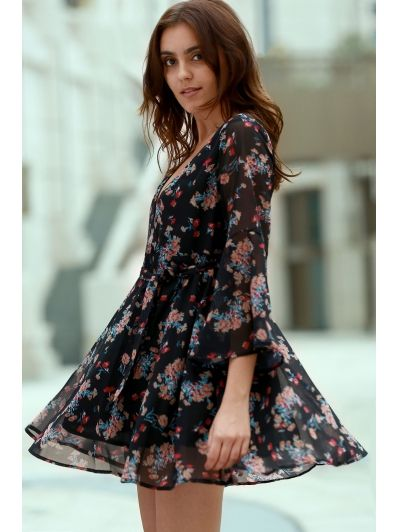 Flare Sleeve Floral Chiffon Dress BLACK: Chiffon Dresses | ZAFUL