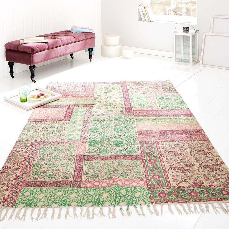 Living Teppich  - wohnzimmer grun rosa