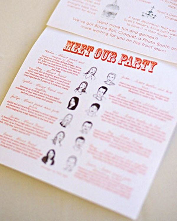 Wedding programs with deets about the bridal party  Everyone wants to know who the people in the bridal party are – but oftentimes, it's hard to get the whole story without doing some serious wedding sleuthing! Make your curious guests happy by providing brief bios of your party in their programs – that way, you'll be able to automatically introduce your party to the guests, and honor them at the same time!