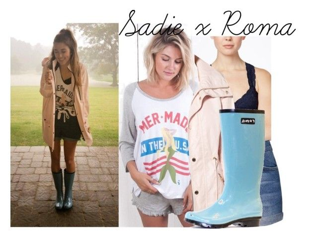 """""""Sadie Robertson Get the Look: ft. Roma Boots"""" by kristen-powell97 ❤ liked on Polyvore featuring Free People, Topshop, GUESS, shorts, Tee, rainboots and rainjacket"""