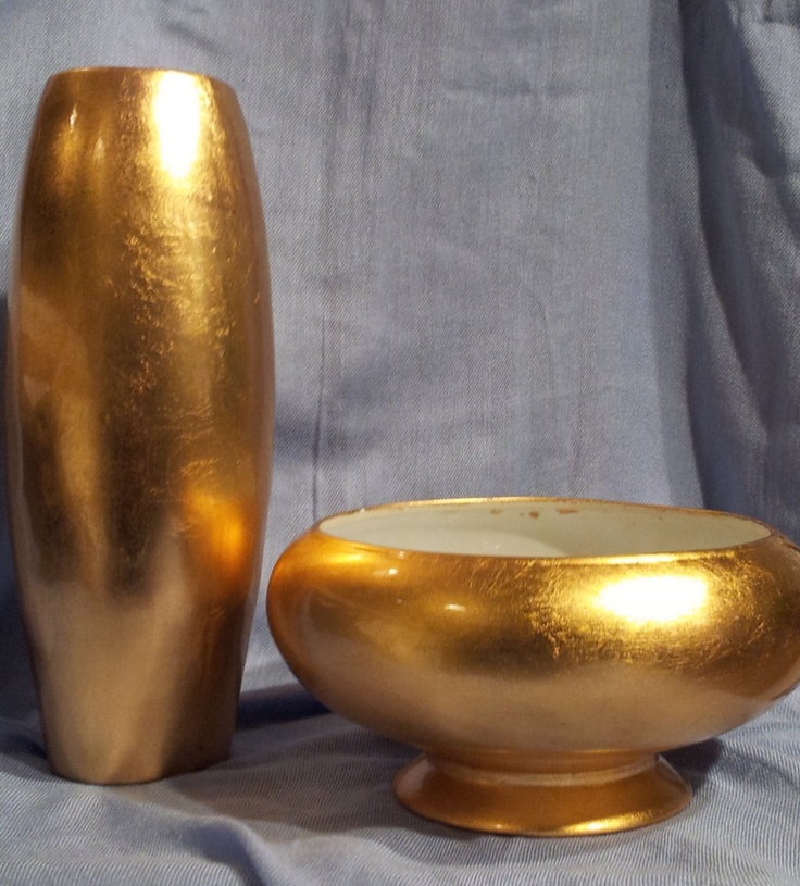 2 PC Faux Gold Leaf Finish Tall Floor Vase and Footed