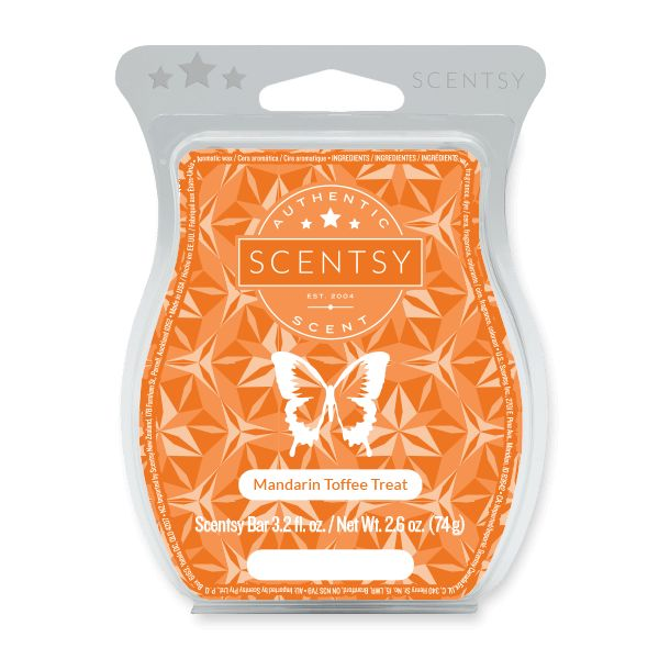 MANDARIN TOFFEE TREAT SCENTSY BAR Sugared mandarin and sugarcane drizzled with creamy toffee butter.