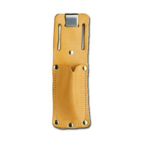 Pacific Handy PCUKH326 Cutters PCUKH326 Tan Leather Sheath Holster with Clip - Pacific Handy Cutters PCUKH326 Tan Leather Sheath Holster with Clip is for use with most safety cutters and utility knives. It is made of high quality leather with a sturdy metal clip and belt slots. Made in USA.