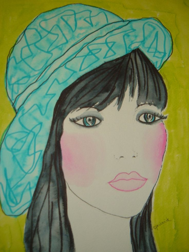 sweet girl with aqua hat - watercolour