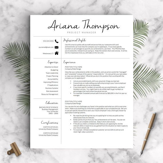 Creative Resume Template for Microsoft Word: The Ariana  ✓ Instant Download CV Template  ✓ US Letter and A4 Templates included  ✓ Mac & PC