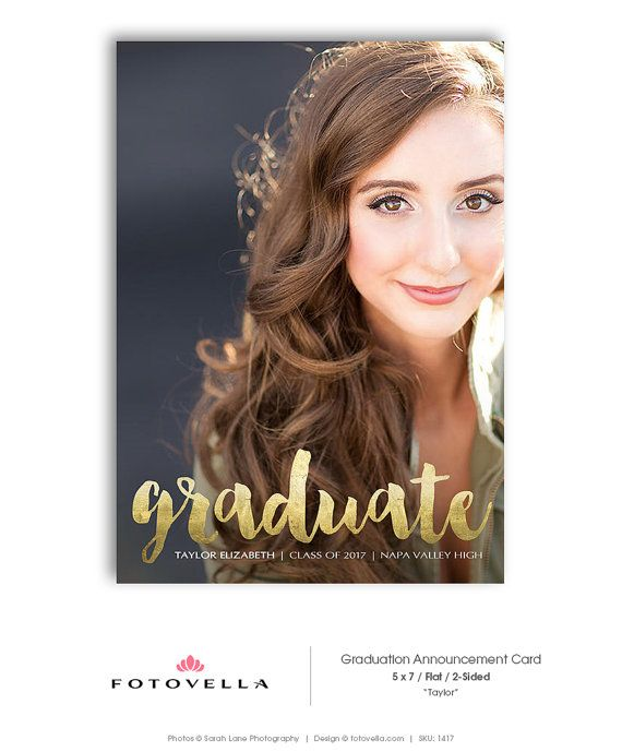 Senior Graduation Announcement Card - Graduation Open House Invite - 5x7 Flat Card - Senior Boy or Senior Girl  - TAYLOR - 1417