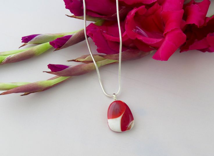 Deep Red & White Puddle Pendant by TheGlassNeedleco on Etsy