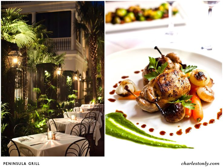 Flickering copper carriage lanterns, light jazz and award-winning cuisine set the stage for refined dining in Charleston.