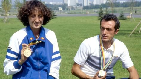 Sara Simeoni e Pietro Mennea dopo le Olimpiadi di Mosca 1980