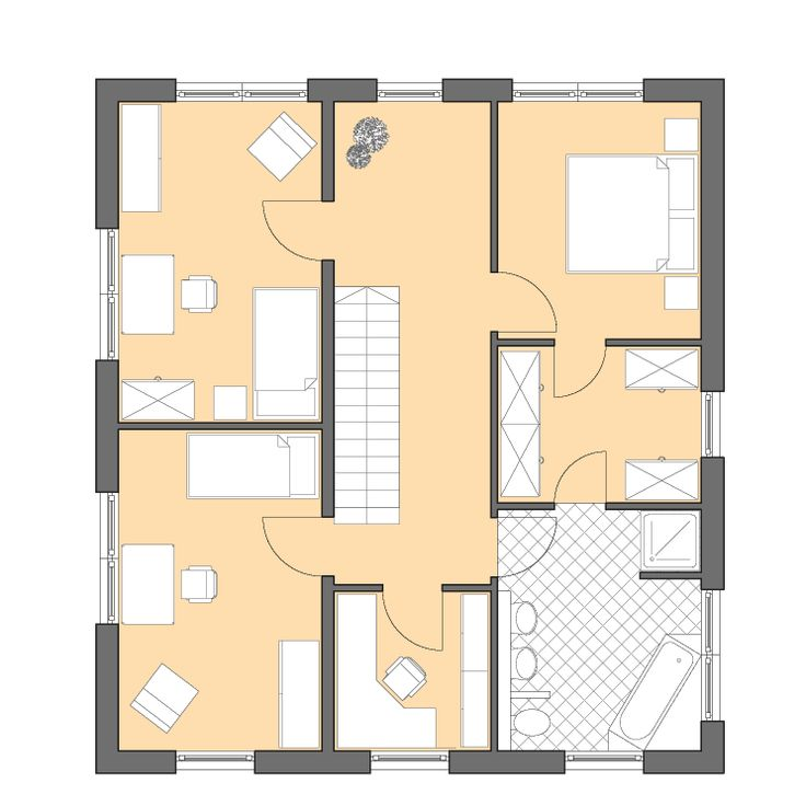 Moderne Häuser | Cubatur 155, Grundriss Obergeschoss