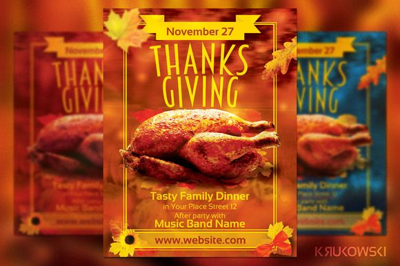 Thanks Giving Dinner Party Flyer ~ Flyer Templates on Creative Market