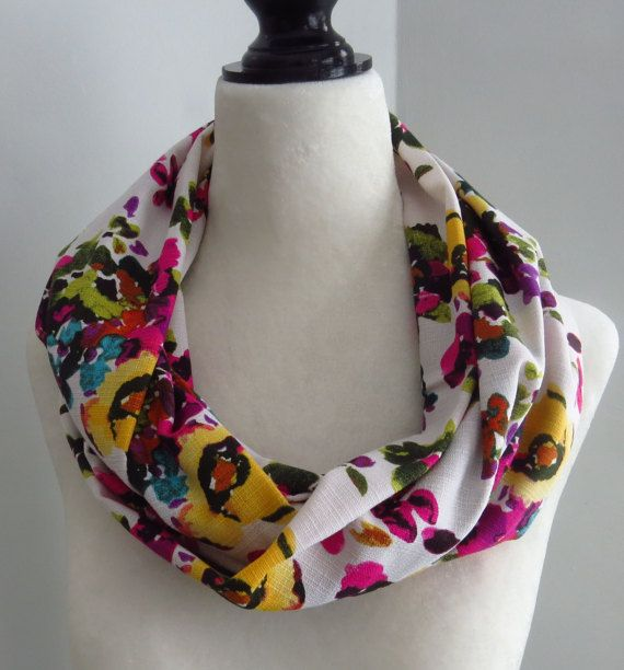 Flowered infinity scarf pink flowers yellow flowers by MelyndaSwan