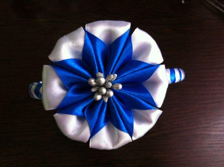 Украшение на ободок Канзаши / Двухцветный цветок