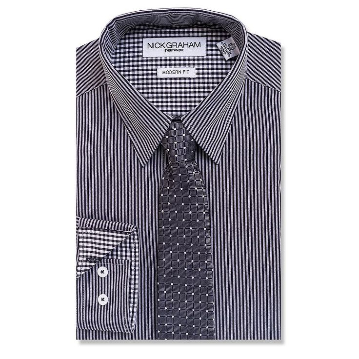 Men's Nick Graham Everywhere Modern-Fit Dress Shirt and Tie Boxed Set, Size: Xl-34/35, Black