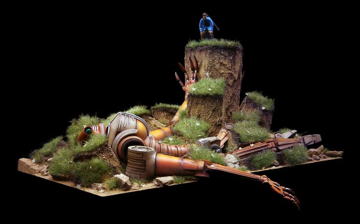 Futuristic Robot scale model. Titled: Vincent's Grave by Marcel du Long. Pinned…