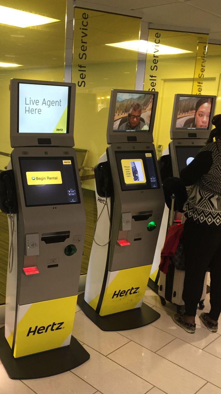 Virtual agents at hertz rental counter interactive