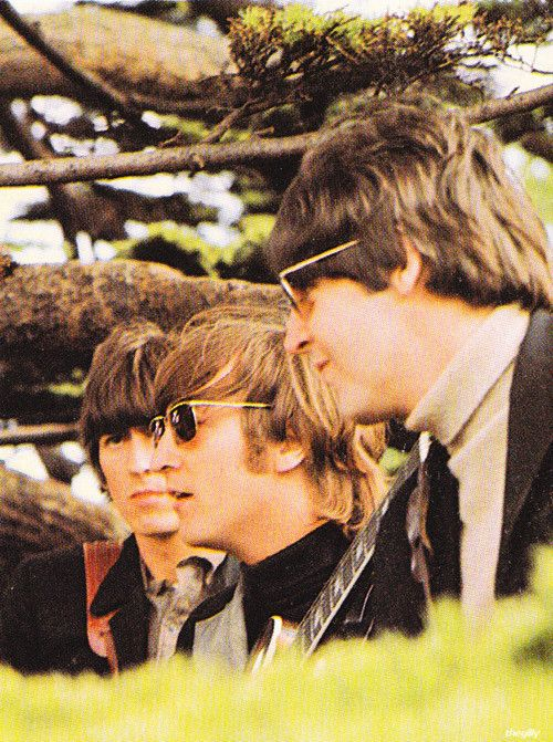 The Beatles on location at Chiswick House in London filming the promotional videos for Rain and Paperback Writer, 20 May 1966.