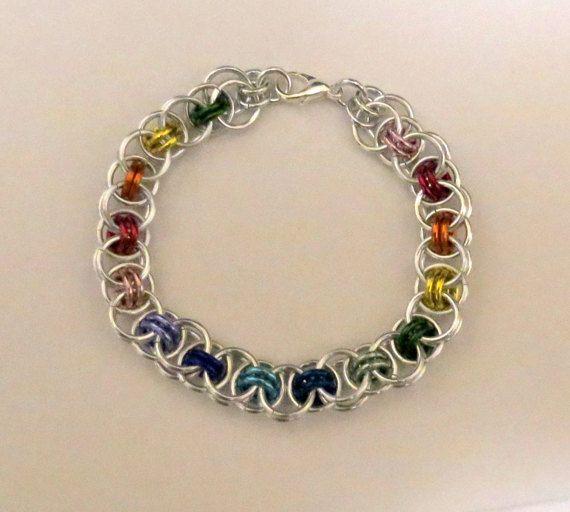 Rainbow Chainmaille Bracelet/Gay Pride/LGBTQ/Helm Weave