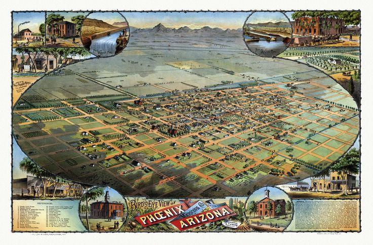 Historic Map of Phoenix Arizona 1885 Maricopa County Poster