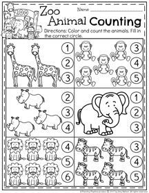 Zoo Animals Preschool Counting Worksheet for February.