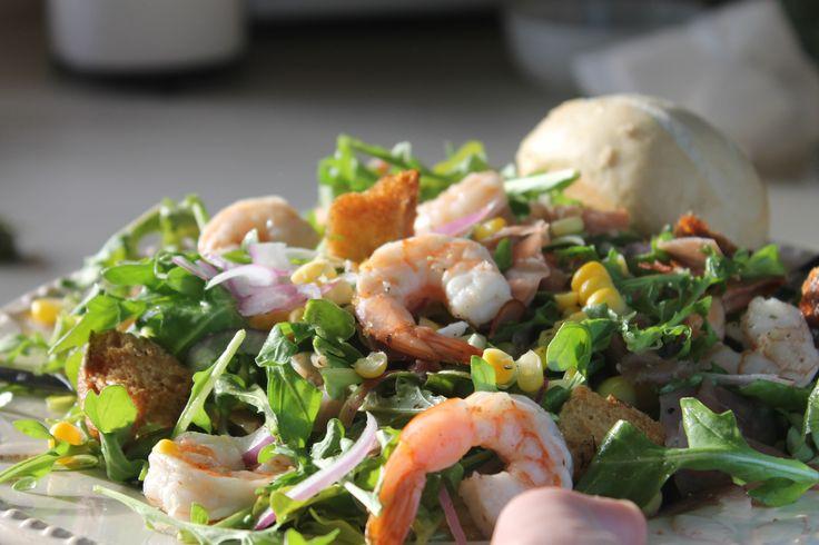 Roasted Shrimp, Prosciutto, and Arugula Salad with Lime Vinaigrette