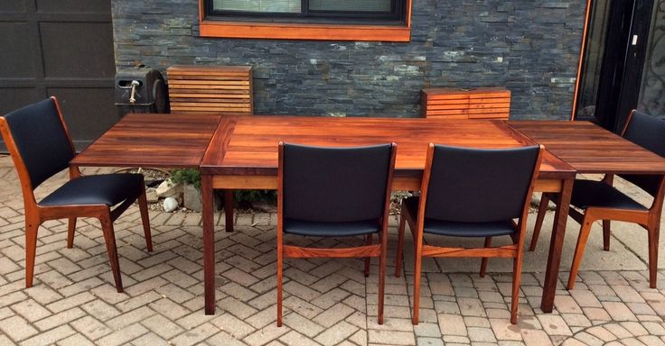 REFINISHED Danish MCM Rosewood Draw Leaf Table and 4 Chairs REUPHOLSTERED