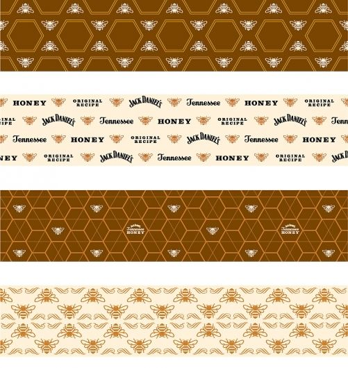 Jack Daniel's Tennessee Honey : Nathan Hinz  Tagged packaging, pattern, liquor, bees, honeycomb