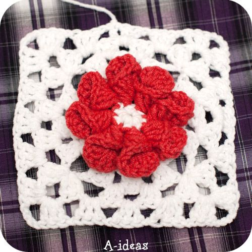 Crochet granny squares with flower