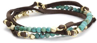 Amazon.com: Ettika Turquoise Semi Precious Stones Brown Deerskin Leather Bracelet: Jewelry