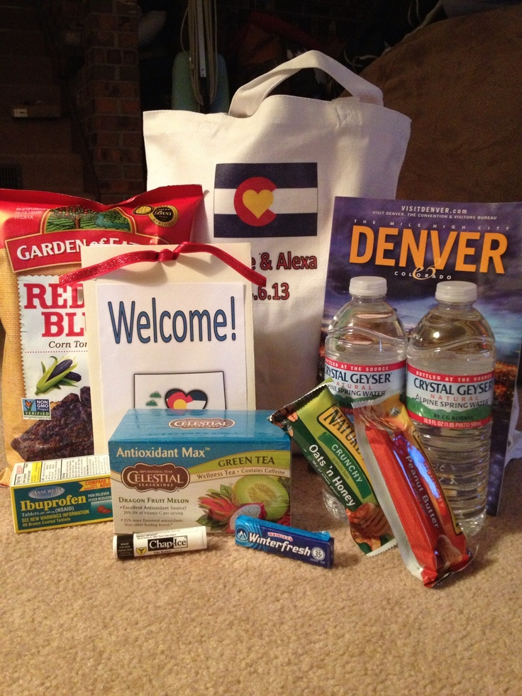 Welcome bags for out of town guests: Colorado themed personalized bags, Denver visitors guide, Red Hot Blues chips, Celestial Seasonings tea, granola bars, ibuprofen, Chapstick, bottled water, and weekend itinerary