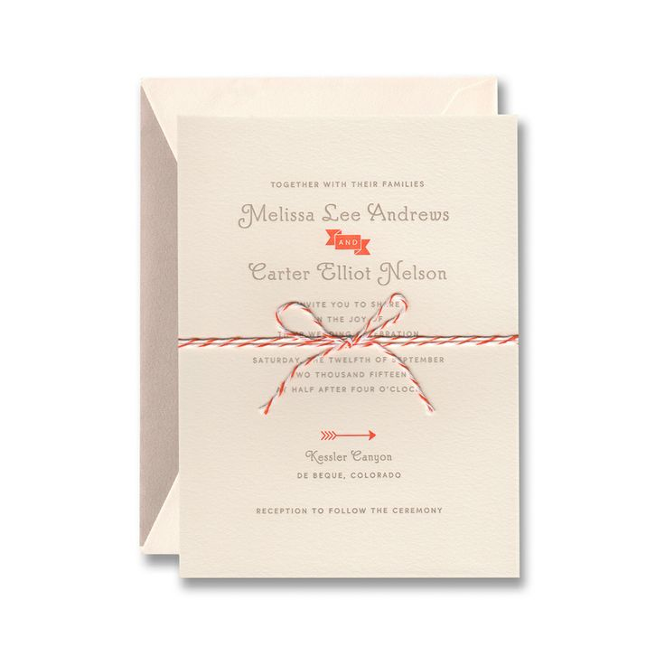 William Arthur Wedding Invitation: Ecru Lettra Paper, Letterpress Printed  In Mushroom And Clementine. Available At French Blue Hayden Avery