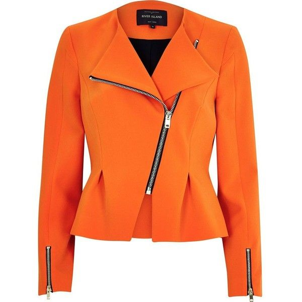 River Island Orange asymmetric peplum jacket ($120) ❤ liked on Polyvore featuring outerwear, jackets, coats, river island, coats / jackets, orange, women, asymmetrical zip jacket, biker jacket and asymmetrical jacket