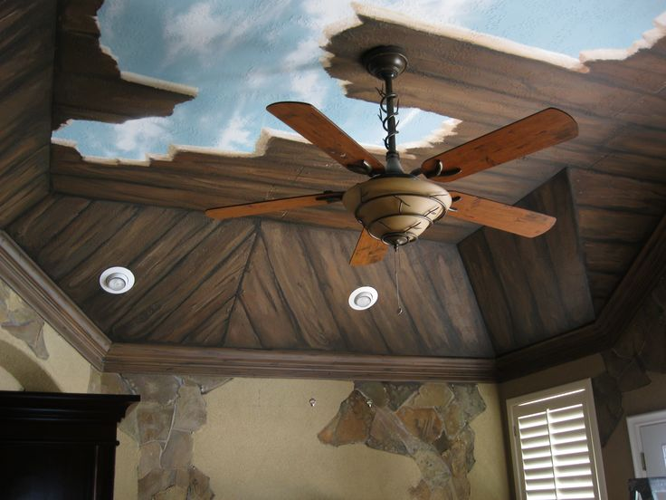 Broken faux wood cieling with blue sky.     www.dwcustommurals.com, Dream Walls Murals and Faux Finish, By Artist Alfredo Montenegro