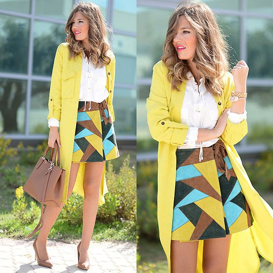 Get this look: http://lb.nu/look/7866118  More looks by Helena Cueva: http://lb.nu/miaventuraconlamoda  Items in this look:  Zara Trench, Asos Skirt, Zara Handbag, Mango Heels   #chic #elegant