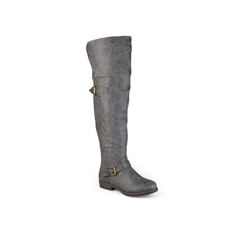 Journee Collection Kane Womens Studded Over-the-Knee Buckle Boots, Teens, Size: 9.5 Wc, Grey