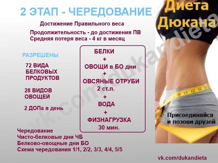 Чередование второй этап диеты дюкана