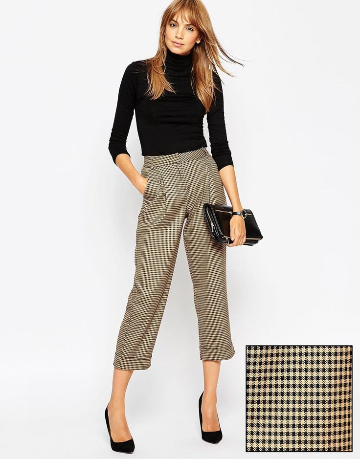 Image 1 ofASOS Mansy Peg Trouser in Mini Check Co-ord