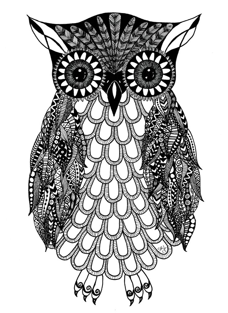Owl Zentangle by Sandy Rosenvinge Lundbye