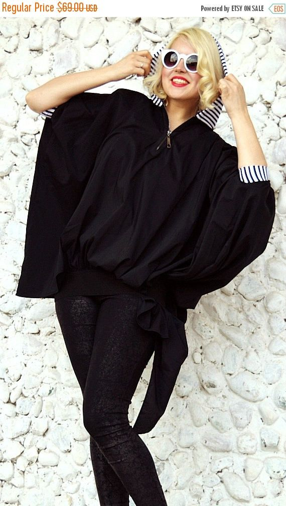 Made with ❤️ ON SALE 35% OFF Extravagant Black Top / Asymmetrical Loose Hoodie / Large Black Top with Striped Hood / Loose Hooded Top Tt78 / Spring 2016  https://www.etsy.com/listing/271434761/on-sale-35-off-extravagant-black-top?utm_campaign=crowdfire&utm_content=crowdfire&utm_medium=social&utm_source=pinterest