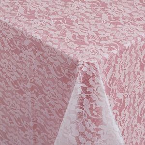 plastic table cloths with clear plastic lace; reasonably priced
