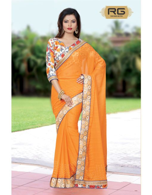 Orange Laced Saree || A plain solid colour Saree with heavy bordered design all over and blouse with laces giving it a heavy look for parties. || RG Designers