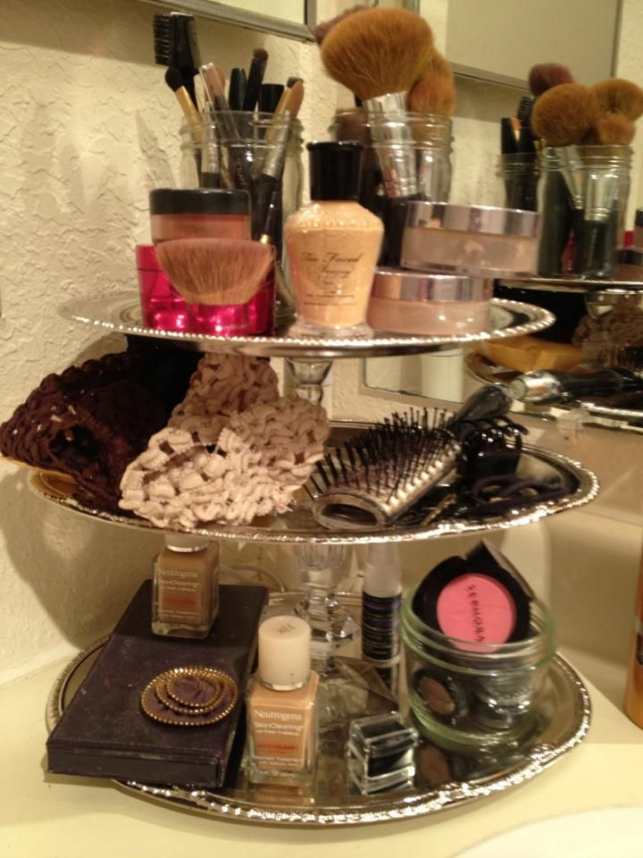 DIY dollar store vanity tray.. I like the idea of making a couple, different heights. Could hold makeup and jewelry and all my watches :)