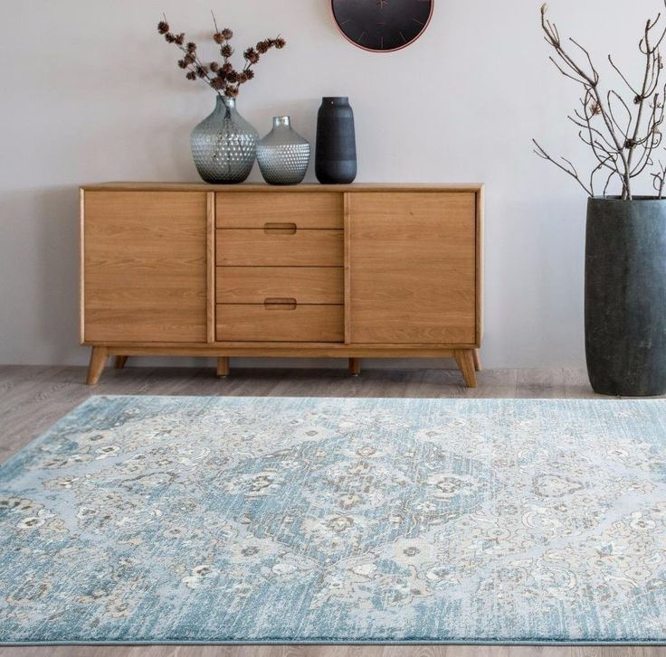 Distressed Blue Floral Oriental Traditional Area Rugs 5x8 8x11 - Bargain Area Rugs