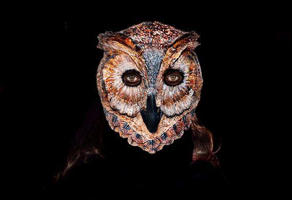 Paper   Athena Οwl mask Made to Order Animal mask  Paper mache  Athena owl mask papier mache Athena owl mask