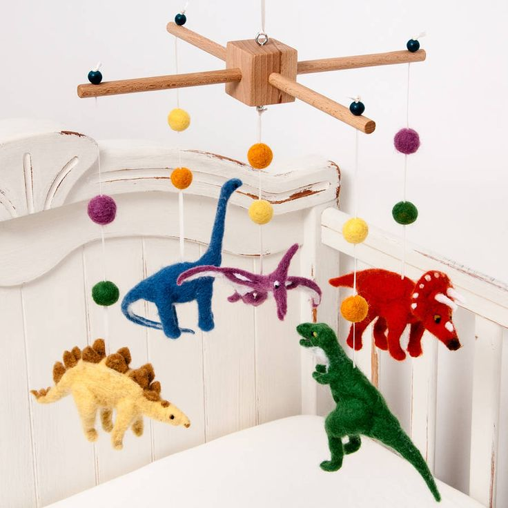 needle felt dinosaur cot mobile by fox's felts | notonthehighstreet.com