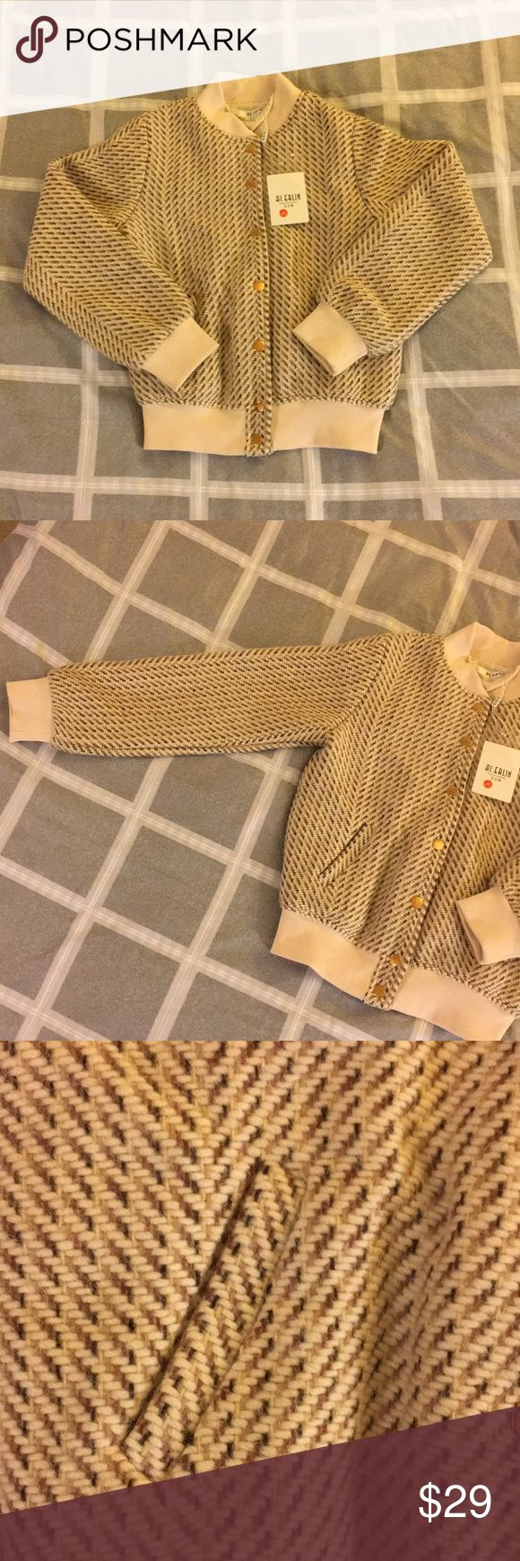 NWT women's tweed jacket Asian women's size large which fits US women's size small. Brand new with tags. Unique tweed texture makes the jacket versatile! Jackets & Coats Utility Jackets
