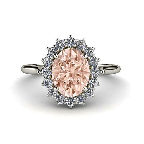 Morganite Ring Diamond. I think this speaks for itself. Hmmm...Valentines Day...???:
