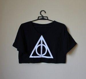 Crop top INSYGNIA ŚMIERCI znak symbol logo Harry Potter oversize